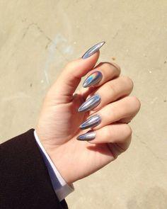 trendy nail art designs for new year 2020 - Styles Art Chic Nails, Stylish Nails, Perfect Nails, Gorgeous Nails, Uñas Fashion, Pointed Nails, Trendy Nail Art, Silver Nails, Holographic Nails
