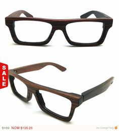 Black Friday sale 20% off very square handmade vintage EBONY woodRX prescription glasses frames