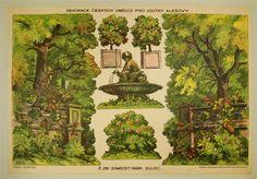 Dekorace ceských Umelcu pro Loutky Alesovy. C. 28b. Zámecký Park. [Kulisy]. (Tschech. Künstlerdekorationen für Ales-Puppen. Nr. 28b. Schlosspark [Kulissen].).