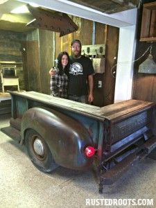Upcycle old truck bed into cool bar.