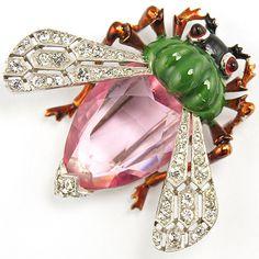 Mazer Pave Pink Topaz and Metallic Enamel Bug Pin Clip 1938