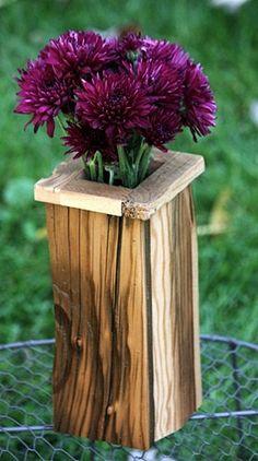Reclaimed barn wood vase