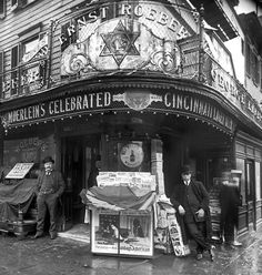 On the left, champion wrestler and vaudeville impresario Ernst Roeber (1861-1944) and his Manhattan saloon at 499 Sixth Avenue around Easter 1908.