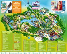 Parkplan | Plopsaland De Panne Theme Park Map, Attraction, Six Flags, Bruges, Layout Design, Disneyland, Pokemon, Tower, How To Plan