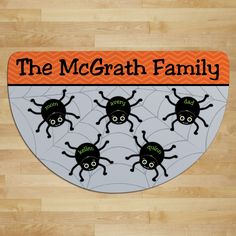 Spider Web Personalized Half Round Doormat---Five Names - Halloween - Occasion…
