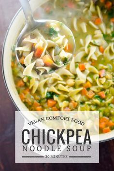 Chickpea noodle soup is vegan comfort food at its best. This easy recipe is ready in 30 minutes. #vegan #dinnertonight #veganrecipes #easyrecipes #soup