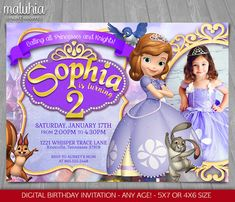 ►►► Thank you for stopping by! ◄◄◄  Feel free to drop us a convo if you are unsure on placing this invite or any other item at Maluhia Prints  ► To see more SOFIA THE FIRST items, click here: www.etsy.com/shop/MaluhiaPrints/search?search_query=sofia  ⬇Please read the listing description before you place your order⬇  This listing is for a personalized digital invitation file, been sent via etsy convo, ready to download and print as many as you want.  ◆ NO PHYSICAL ITEM WIL...