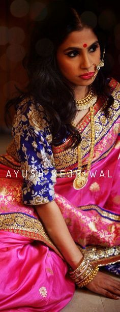 Love this pink benarasi saree with heavy blue blouse by Ayush Kejriwal #Frugal2Fab