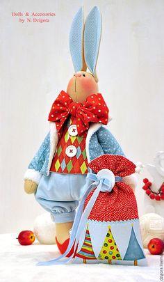 Купить Рождественский кролик Лоренцо - заяц, новогодний заяц, игрушка заяц, заяц игрушка, зайцы