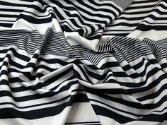 Graduated Stripe Print Scuba Stretch Jersey Dress Fabric Black & White | Fabric | Dress Fabrics | Minerva Crafts