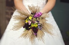 wedding bouquet with dried grasses