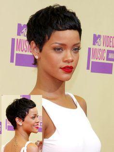 Rihanna with pixie style and dark hair