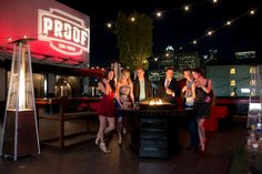 Proof Bar and Patio Houston, Texas, MidTown's Largest Patio, DownTown Views From Midtowns Only Rooftop Patio or MidTown's Ultimate Rooftop Patio Rooftop Lounge, Rooftop Patio, Rooftop Bar, Proof Bar, Houston Bars, Places To See, Around The Worlds, Roof Top, Interior Ideas