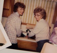 A familiar picture - sisters Wilma and Nelma doing the dishes and having fun
