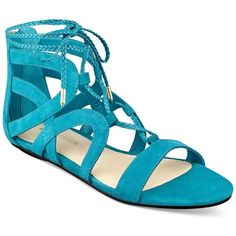 Marc Fisher Kapre Lace-Up Ankle-Tie Gladiator Sandals featuring polyvore, women's fashion, shoes, sandals, medium blue suede, lace-up sandals, ankle tie gladiator sandals, suede lace up sandals, ankle strap sandals and roman sandals