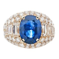 BULGARI Azul Zafiro y Diamante Anillo de diamante de corte mixto