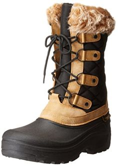 Tundra Women's Augusta Winter Boot, Black/Tan, 9 B US -- You can find out more details at the link of the image.
