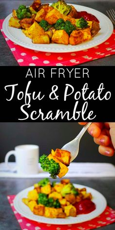 We eat a tofu and potato scramble almost every weekend, and I've finally worked out how to make it happen in the air fryer!