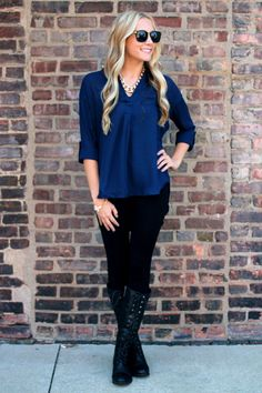 loose blouse, boots and leggings http://uoionline.com/collections/womens-tops/products/loosen-up-my-button-blouse-