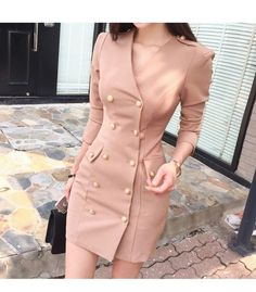 Wholesale New Arrival Double-breasted Blazer Fitted Dress Classy Dress, Classy Outfits, Chic Outfits, Fashion Outfits, Womens Fashion, Fancy Dress, Dress Formal, Fashion Fashion, Latest Fashion Dresses
