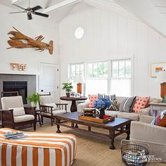 Throughout much of the 1960s and '70s, orange was one of the more popular shades within interior design. Now orange is back in the top spot. But rather than appearing in mod florals, trippy tie-dyes, and crushed velvet sofas, orange is featured with cottage and nautrical themes, plenty of crisp whites, and doses of bright blues. Plenty of wood surfaces and natural textures help to erase any holdover hippie or disco vibes associated with the hue.