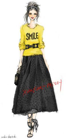 Fashion Illustration Ideas Xunxun Missy Fashion Illustrations my style. Fashion Illustration Sketches, Illustration Mode, Fashion Sketchbook, Fashion Design Sketches, Fashion Drawings, Moda Fashion, Fashion Art, Girl Fashion, Moda Chic