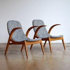 Upholstered Czech Oak Sling Chairs