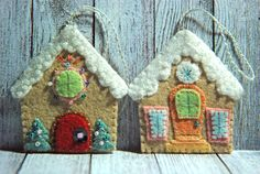 Felt Gingerbread House Christmas Ornament - Gingermelon Design