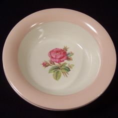Homer Laughlin Swing Moss Rose Cereal Bowl (2 Available) from ruthsredemptions on Ruby Lane
