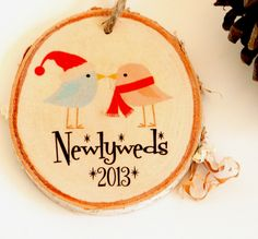 Newlywed First Christmas ornament, perfect wedding or Christmas gift from Little Wee Shop on Etsy.  Chose from birds or owls.