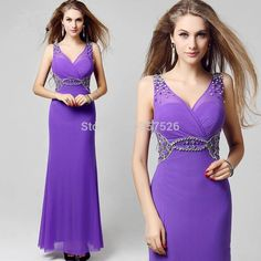New Sexy Gown Crystals Evening Dresses Purple V neck Ankle Length Dress Appliques With Sequins Beads Chiffon Formal Gowns AA58-in Evening Dresses from Weddings & Events on Aliexpress.com | Alibaba Group