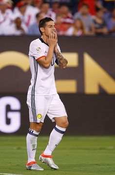 Colombia's James Rodriguez gestures during the Copa America Centenario quarterfinal football match against Peru in East Rutherford New Jersey United...