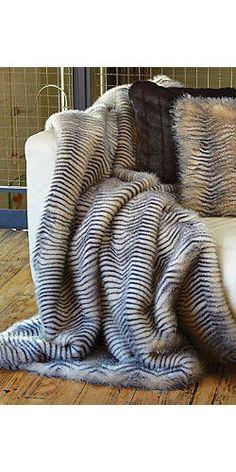 herringbone faux fur throw, $249