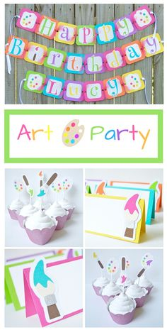 Look at these bright and colorful art party decorations! Cute artist palettes and neon paint brushes with sparkly glitter. The are perfect for my little girl's art theme birthday party.