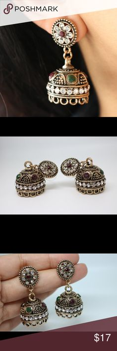"""Antique gold Indian earrings. Antique gold Indian earrings.  Lenght: 1.7""""  One missing crystal as seen in the last picture. Jewelry Earrings"""