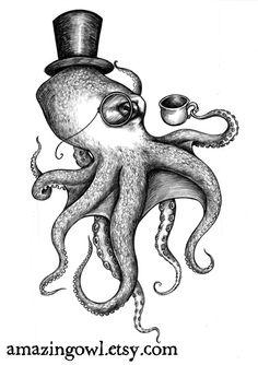 Genteel Octopus - 8 x 10 giclee print by Asia Akhmetova. $20.00, via Etsy.