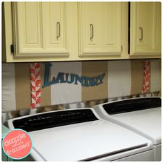 How to hide unsightly laundry room hookups with DIY cork board