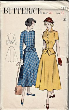 1950s Vintage Pattern Two Piece Dress with by ShellMakeYouFlip, $22.00