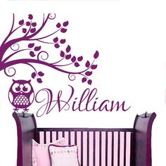 Hey, I found this really awesome Etsy listing at https://www.etsy.com/listing/247300705/personalized-name-wall-decals-owl-tree