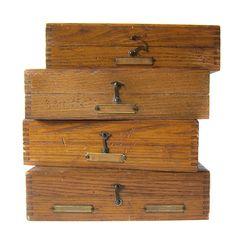 Set Of Four Hook Latch Hardware Boxes   THREE POTATO FOUR