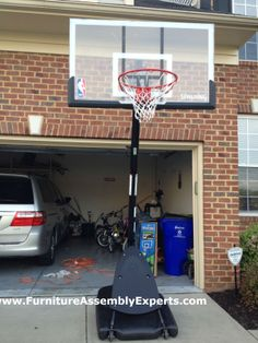 spalding portable basketball hoop system assembled la plata md by Furniture assembly Experts LLC Basketball Rim, High School Basketball, Spalding Portable Basketball Hoop, Furniture Assembly, Team S, Tennis Racket, Sports, Colleges, Nyc