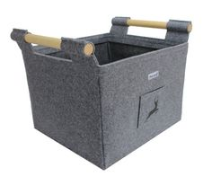 Felt Firewood Basket with Wooden Side Handles and by stichhaltig