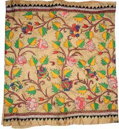 Pure Silk, Hand Embroidered Nakshi Kantha Stole Scarf   artisansofindia - Accessories on ArtFire