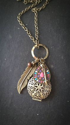 Aromatherapy Necklace * Boho Essential Oil Diffuser Locket pendant by AuraStrands on Etsy https://www.etsy.com/listing/222978355/aromatherapy-necklace-boho-essential-oil