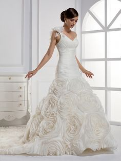 One Shoulder Trumpet/Mermaid Organza wedding dress
