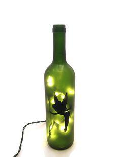 Tinkerbell Wine Bottle Lamp / Fairy Light / by ShopOfBottles Lighted Wine Bottles, Bottle Lights, Wine Subscription, Wine Refrigerator, Wine Bottle Crafts, Fairy Lights, Night Light, Tinkerbell, Manualidades