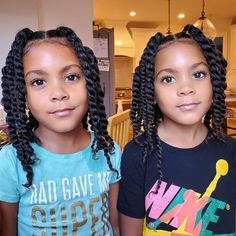 """ProtectiveStyles on Instagram: """"""""Fresh twists cause mama is TIRED, you hear me TIRED 😴 😭 **and before the question start...no they are not wearing makeup or mascara, etc.…"""" African Hairstyles For Kids, Little Girls Natural Hairstyles, Lil Girl Hairstyles, Black Kids Hairstyles, Kids Braided Hairstyles, Toddler Hairstyles, Curly Hair Styles, Natural Hair Styles, Kid Braid Styles"""