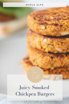 Juicy Smoked Chickpea Burger (vegan with gluten free options) — Maple Alps Bbq Burger, Burger Toppings, Burger Recipes, Vegetarian Recipes, Cooking Recipes, Healthy Recipes, Vegan Chickpea Burger, Sweet Potato Burgers, Snacks Für Party