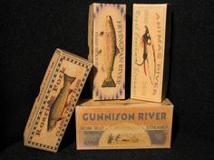 Vintage look Colorado trout fishing lure box decorations. Fryingpan River, Gunnison River, Roaring Fork and Animas River. Boxes available for any lake, river, pond  creek or bay.