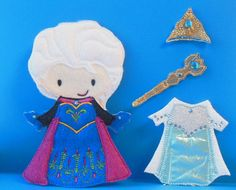 Elsa Frozen felt non paper doll with 2 outfits and by JustParty